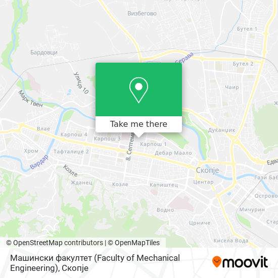 Машински факултет (Faculty of Mechanical Engineering) map
