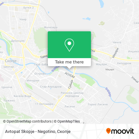 Avtopat Skopje - Negotino map