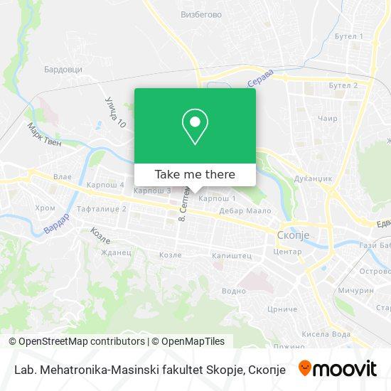 Lab. Mehatronika-Masinski fakultet Skopje map