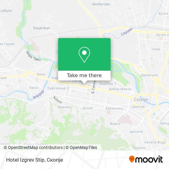 Hotel Izgrev Stip map
