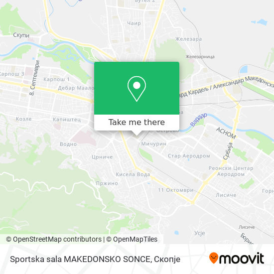 Sportska sala MAKEDONSKO SONCE map