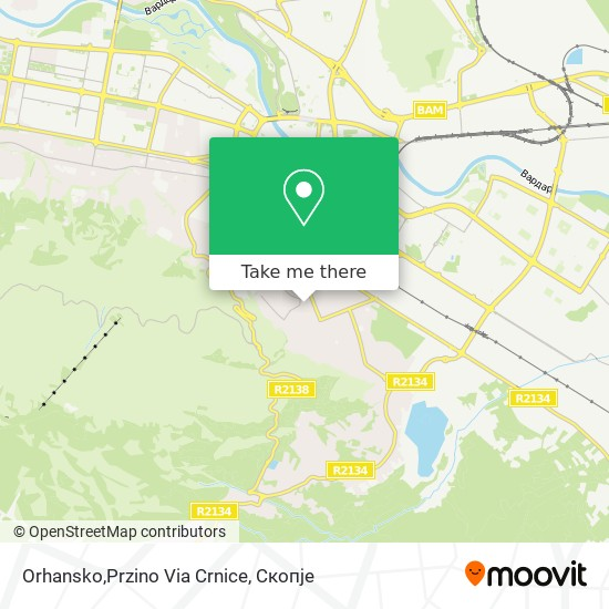 Orhansko,Przino Via Crnice map