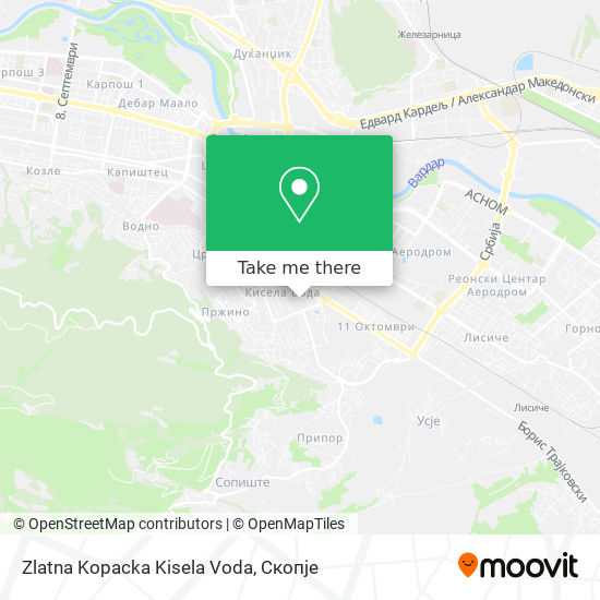 Zlatna Kopacka Kisela Voda map