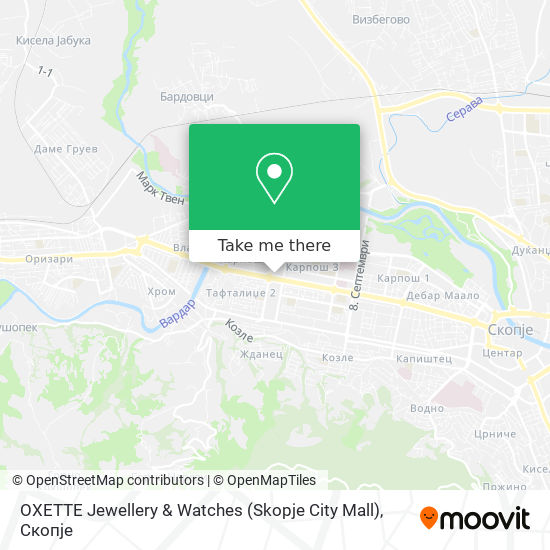 OXETTE Jewellery & Watches (Skopje City Mall) map