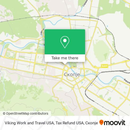 Viking Work and Travel USA, Tax Refund USA map