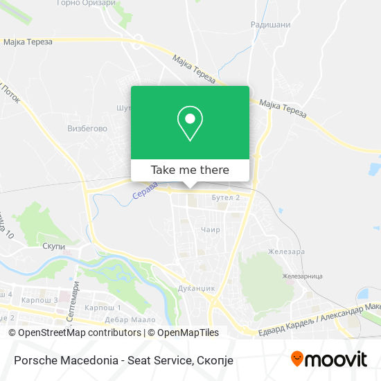 Porsche Macedonia - Seat Service map