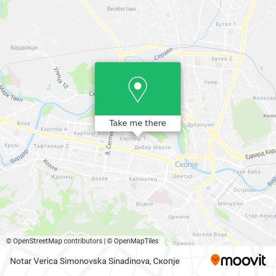 Notar Verica Simonovska Sinadinova map
