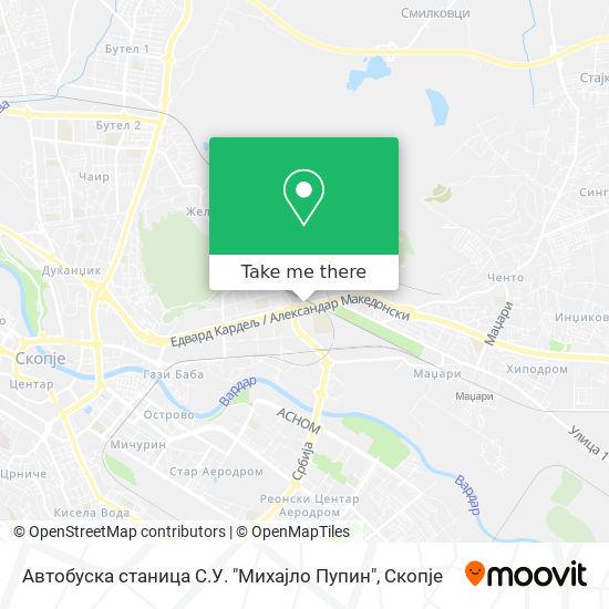 """Автoбускa стaницa С.У. """"Михaјлo Пупин"""" map"""