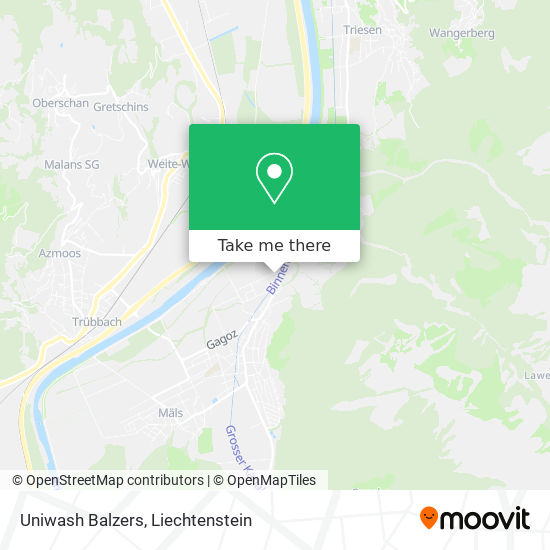 Uniwash Balzers map