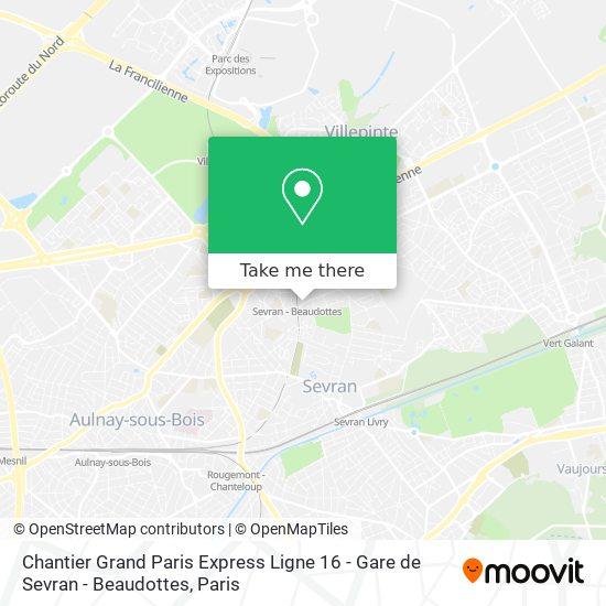 Chantier Grand Paris Express Ligne 16 - Gare de Sevran - Beaudottes mapa