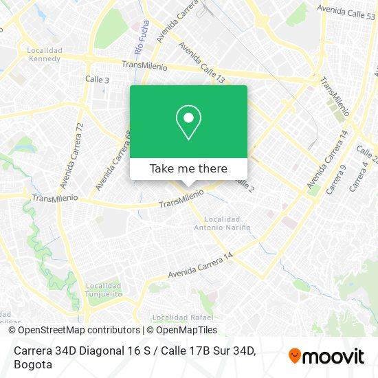 Carrera 34D Diagonal 16 S / Calle 17B Sur 34D map