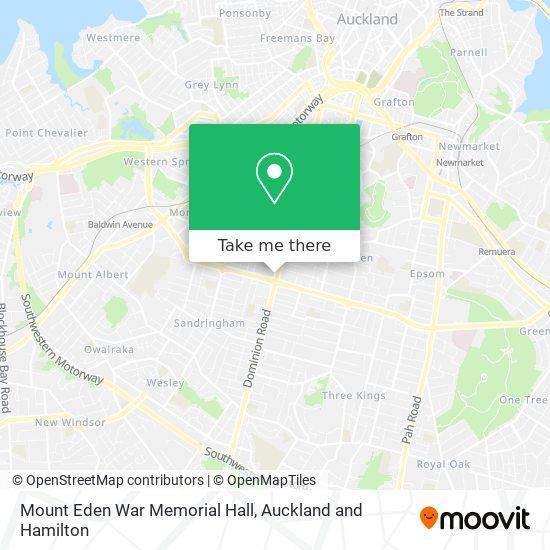 Mount Eden War Memorial Hall map