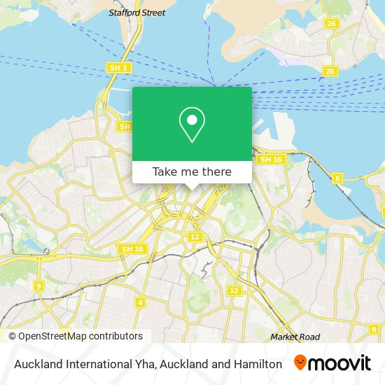 Auckland International Yha map