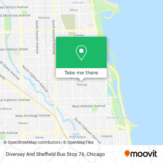 Diversey And Sheffield Bus Stop 76 map