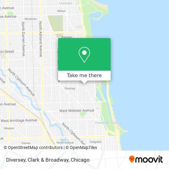Diversey, Clark & Broadway map