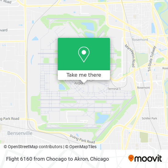 Flight 6160 from Chocago to Akron map