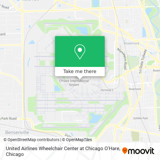 United Airlines Wheelchair Center at Chicago O'Hare map