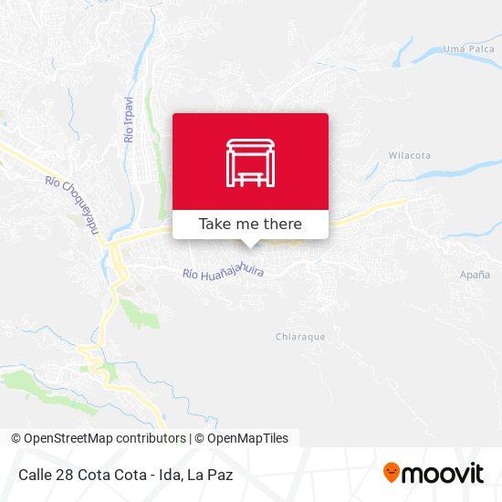 Calle 28 Cota Cota - Ida map