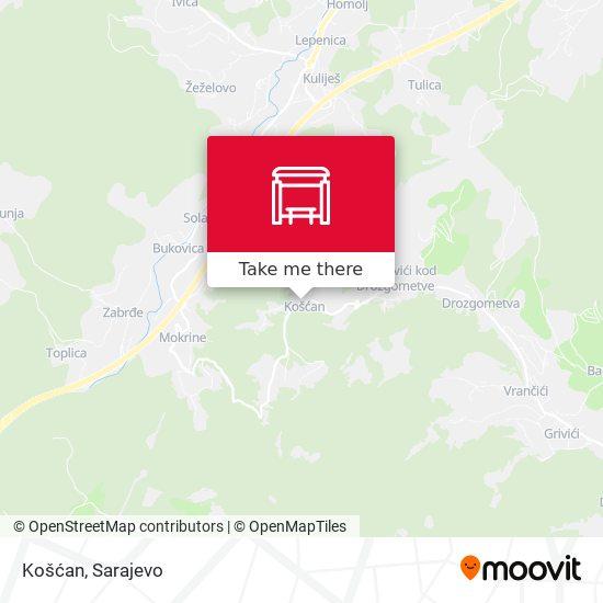 Košćan map