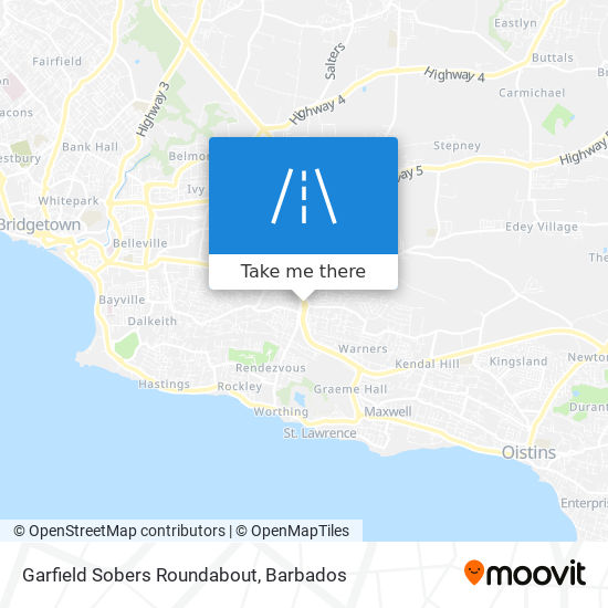 Garfield Sobers Roundabout map