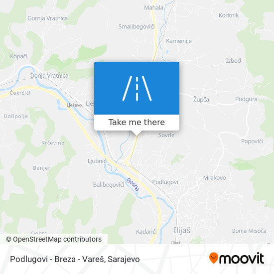 Podlugovi - Breza - Vareš map