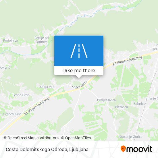 Cesta Dolomitskega Odreda map
