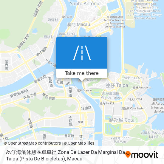 氹仔海濱休憩區單車徑 Zona De Lazer Da Marginal Da Taipa (Pista De Bicicletas) map
