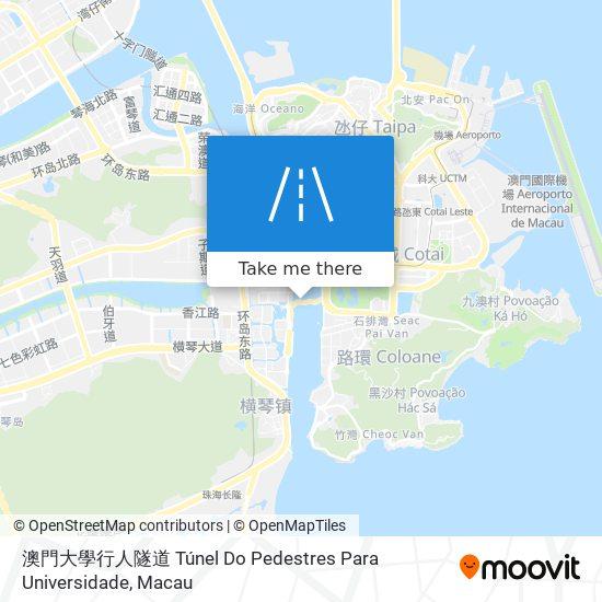 澳門大學行人隧道 Túnel Do Pedestres Para Universidade map