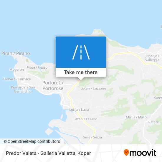 Predor Valeta - Galleria Valletta map
