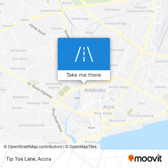 Tip Toe Lane map