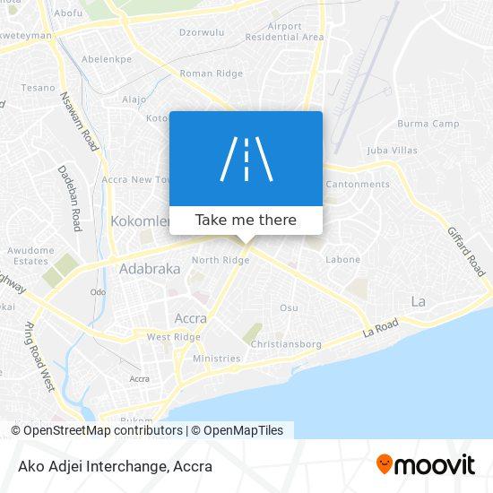 Ako Adjei Interchange map