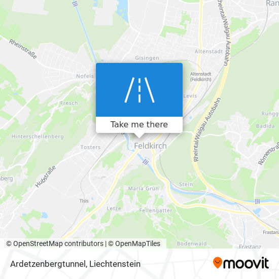 Ardetzenbergtunnel map
