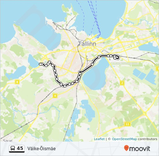 45 bus Line Map