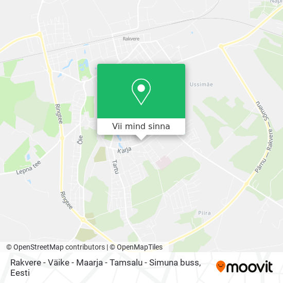 Rakvere - Väike - Maarja - Tamsalu - Simuna buss kaart