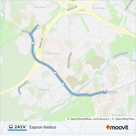 241v Route Time Schedules Stops Maps Espoon Keskus