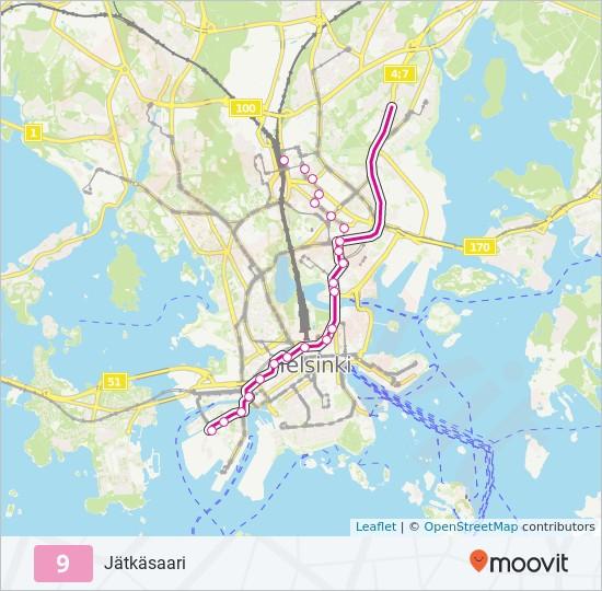 9 Route Time Schedules Stops Maps Jatkasaari