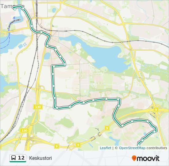 12 Route: Time Schedules, Stops & Maps - Keskustori