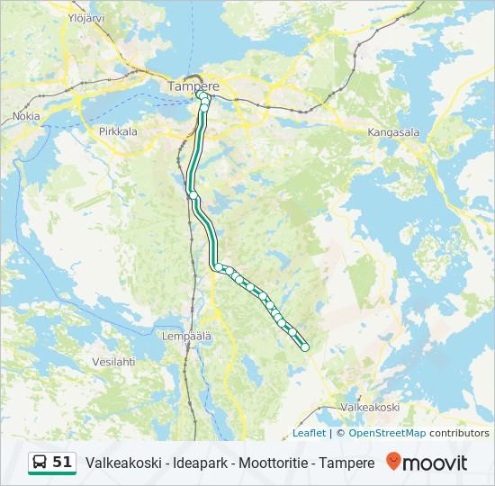 51 Reitti Aikataulut Pysakit Kartat Tampere