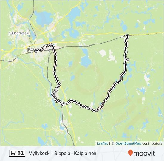 61 Reitti Aikataulut Pysakit Kartat Myllykoski Sippola