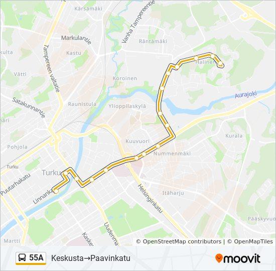55a Route Time Schedules Stops Maps Keskusta Paavinkatu