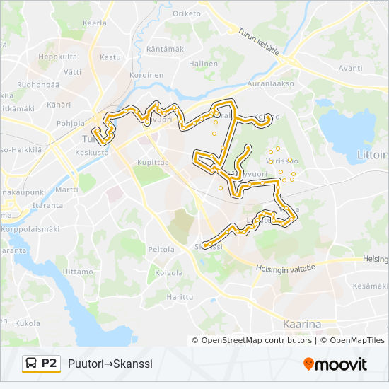 P2 Route Time Schedules Stops Maps Puutori Skanssi