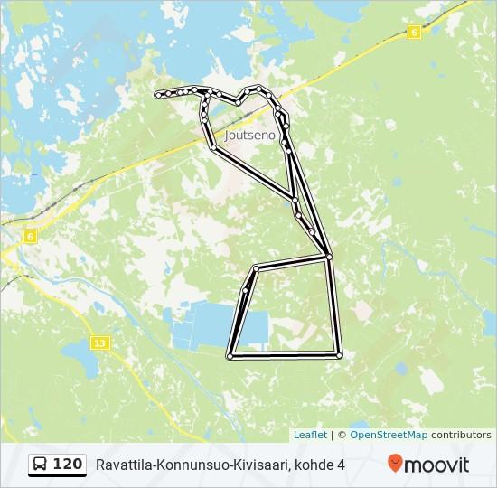 120 Route: Time Schedules, Stops & Maps - Ravattila-Konnunsuo-Kivisaari