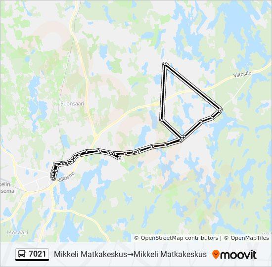 7021 Reitti Aikataulut Pysakit Kartat Mikkeli Matkakeskus