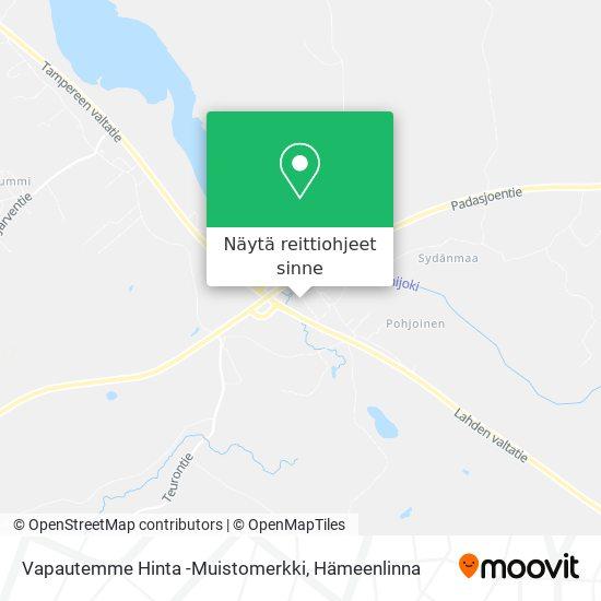 Vapautemme Hinta -Muistomerkki kartta
