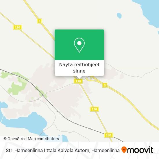 St1 Hämeenlinna Iittala Kalvola Autom kartta