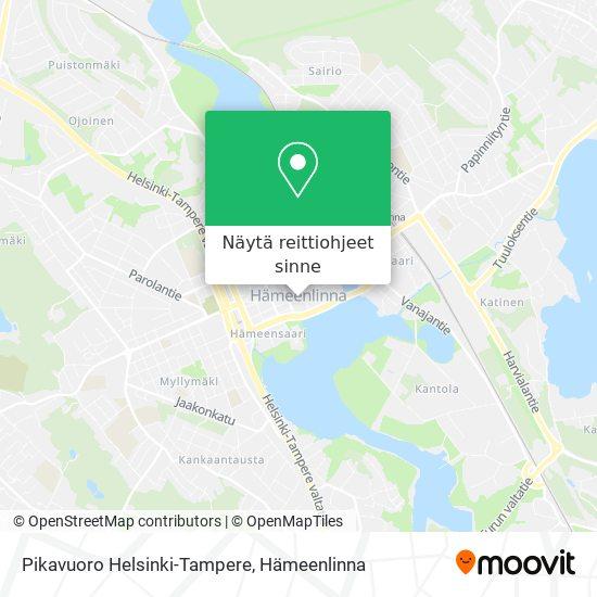 Pikavuoro Helsinki-Tampere kartta