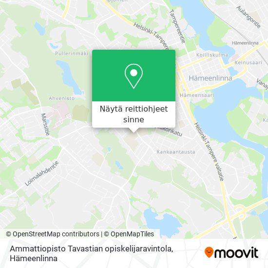 Ammattiopisto Tavastian opiskelijaravintola kartta