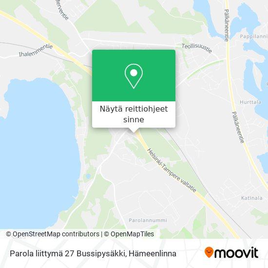 Parola liittymä 27 Bussipysäkki kartta