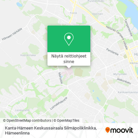Kanta-Hämeen Keskussairaala Silmäpoliklinikka kartta