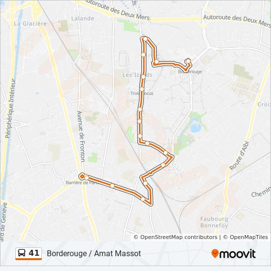 ligne 41 horaires stations plans borderouge toulouse